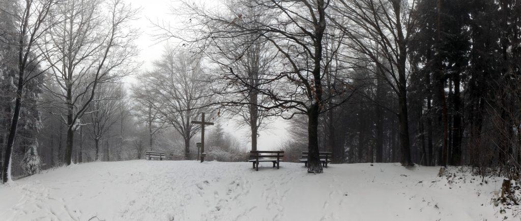 Buchberg Gipfel Mattsee Winter Schnee Kreuz Wandern